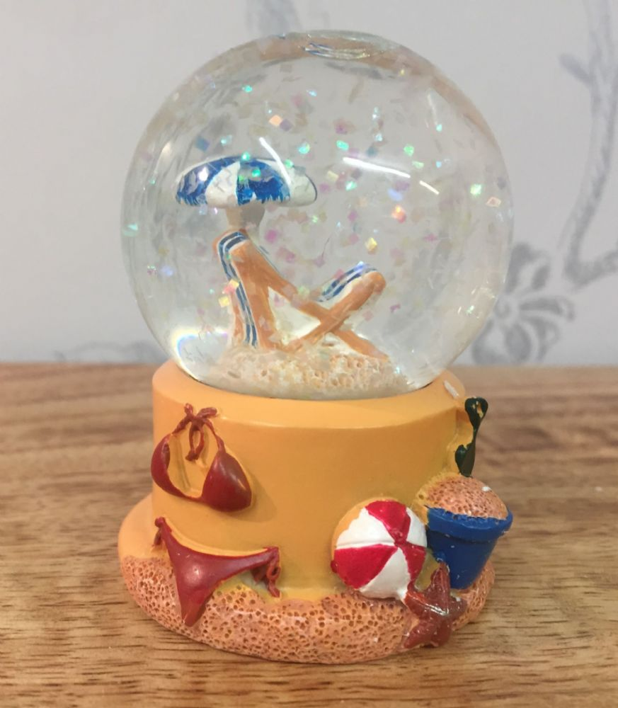 Deck Chair Beach Snow Globe Glitter Ball